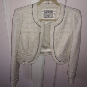 GUESS Cream and Silver Cropped Jacket Medium